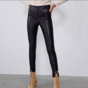 NWT Zara Faux Leather Mid-Rise ZIP Legging Medium